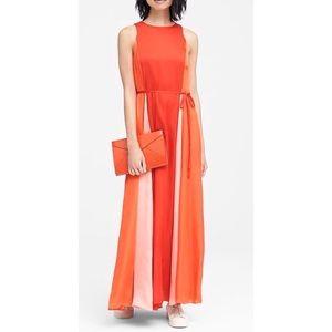 Banana Republic Paneled Red,Orange Pink Maxi Dress